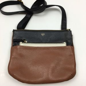 Fossil Tinsley Crossbody Bag Brown Black Leather